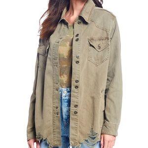 NWT Free People Moonchild Distressed Denim Jacket